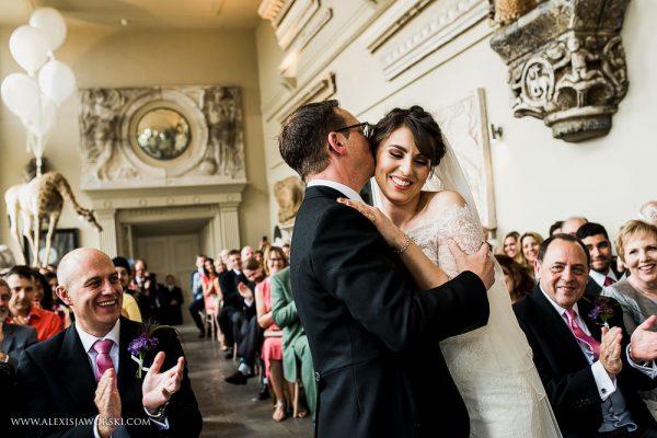 Aynhoe Park wedding first kiss and hug