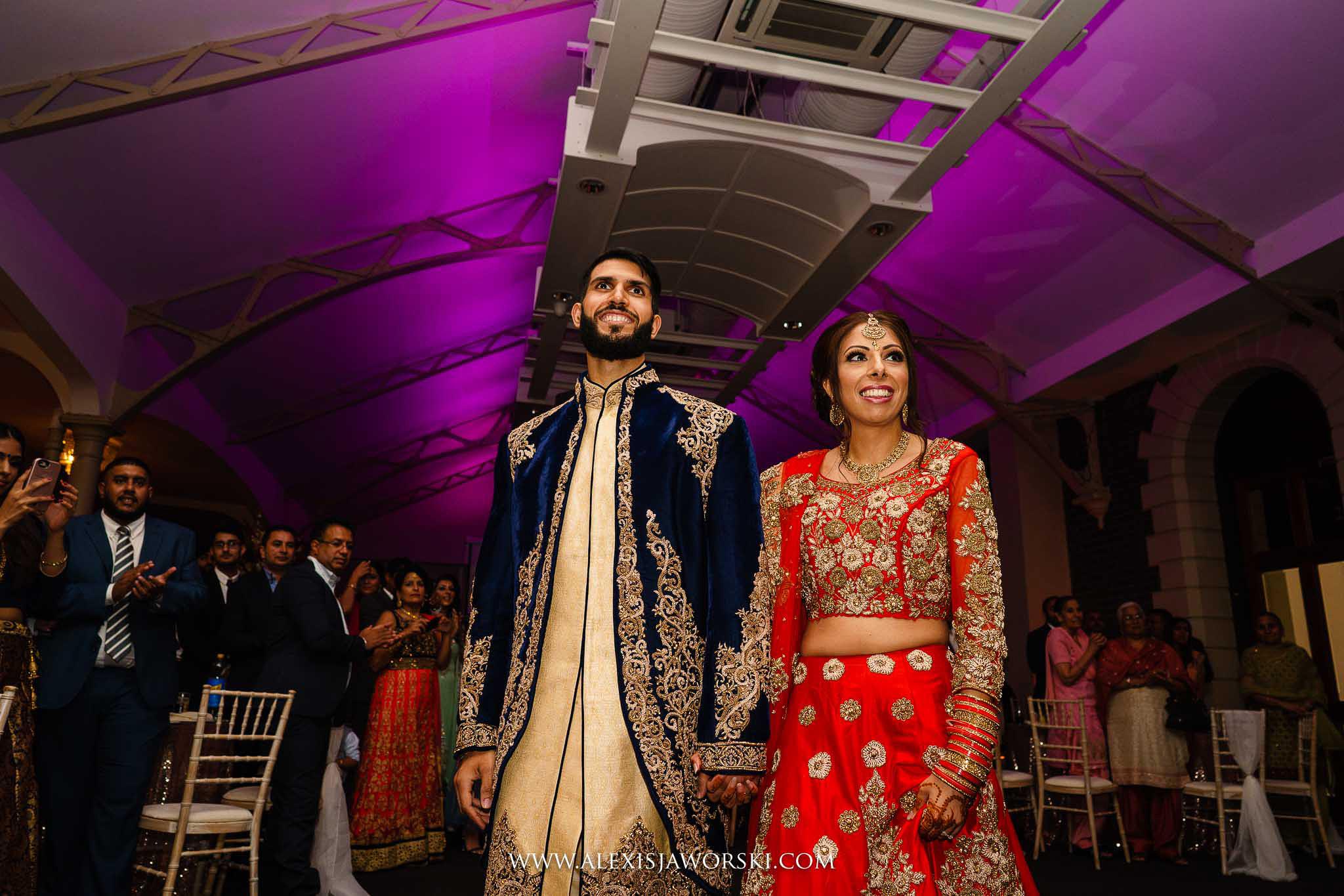 bride and groom entering the venue