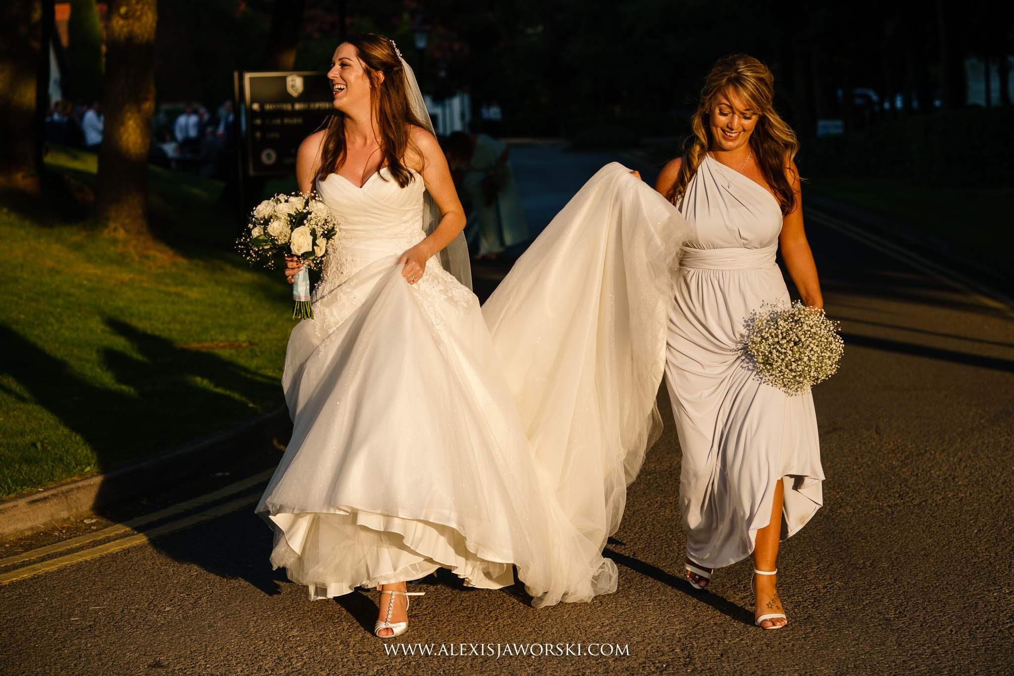 bride walking in gorgeous light!