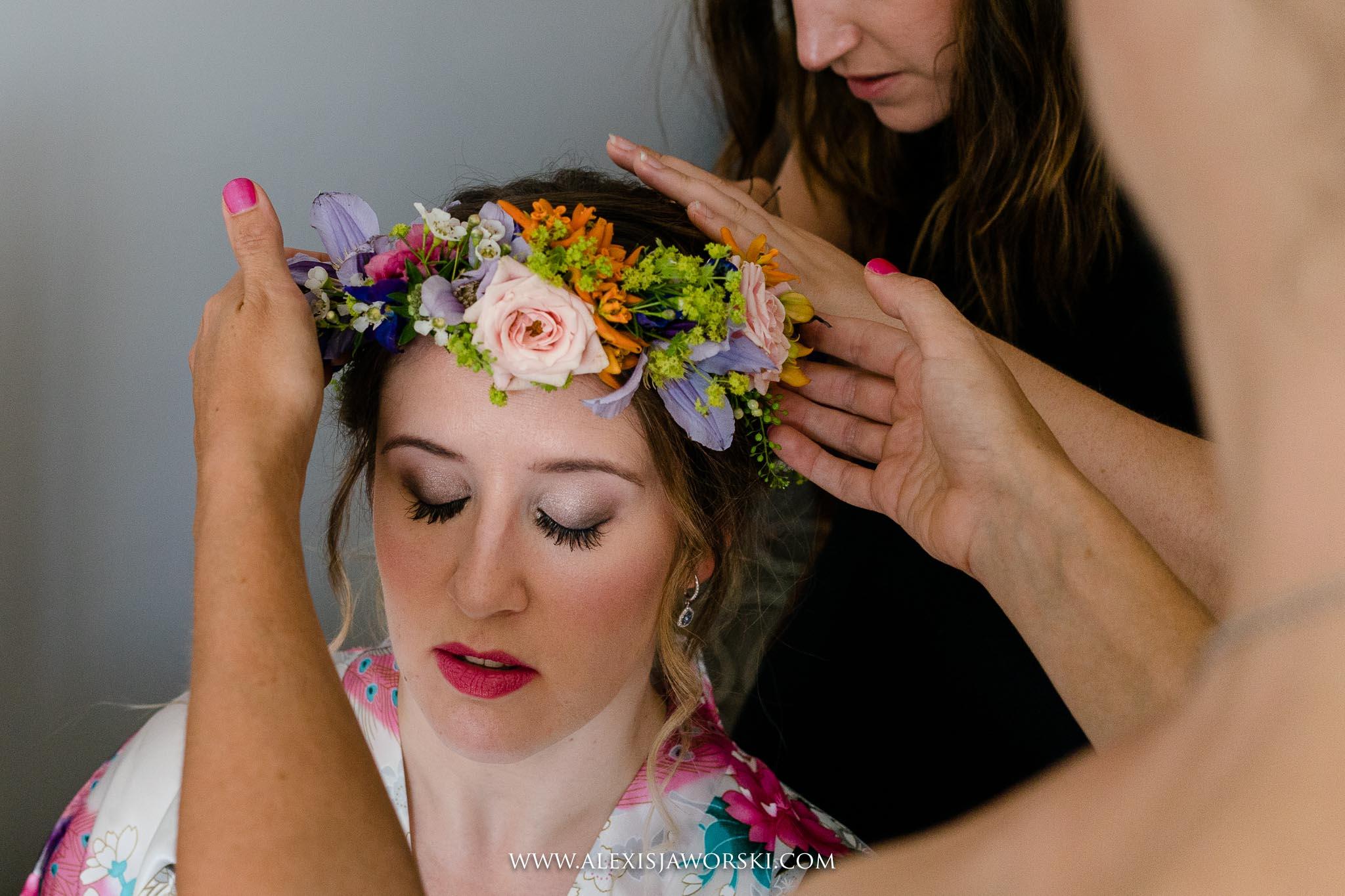 bride wearing flowers crown