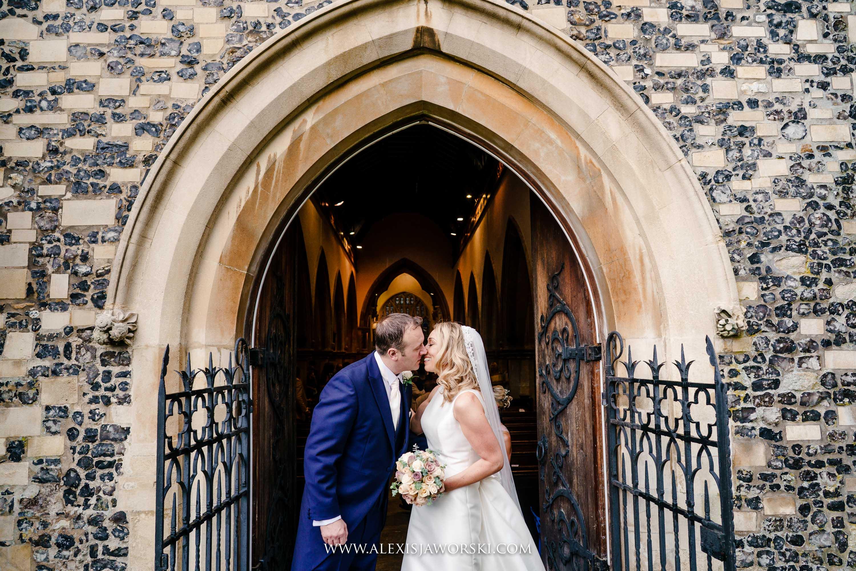 kissing outisde the church