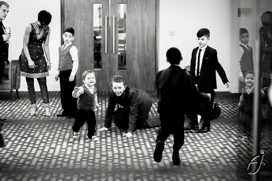 children playing at a wedding at the hilton london heathrow hotel