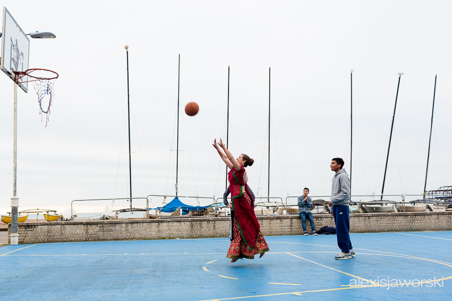 Hindu Bride playing basketball