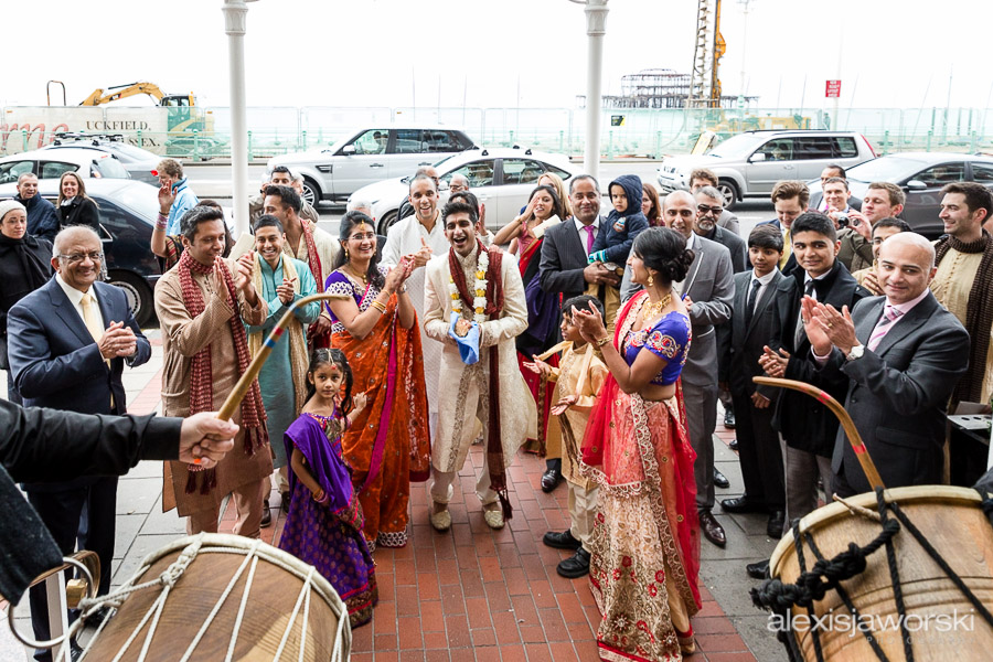 Groom arriving to the sound of Dhol Durms