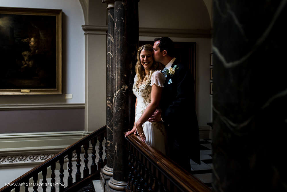 Bride and groom portrait at the Guildhall in Bath