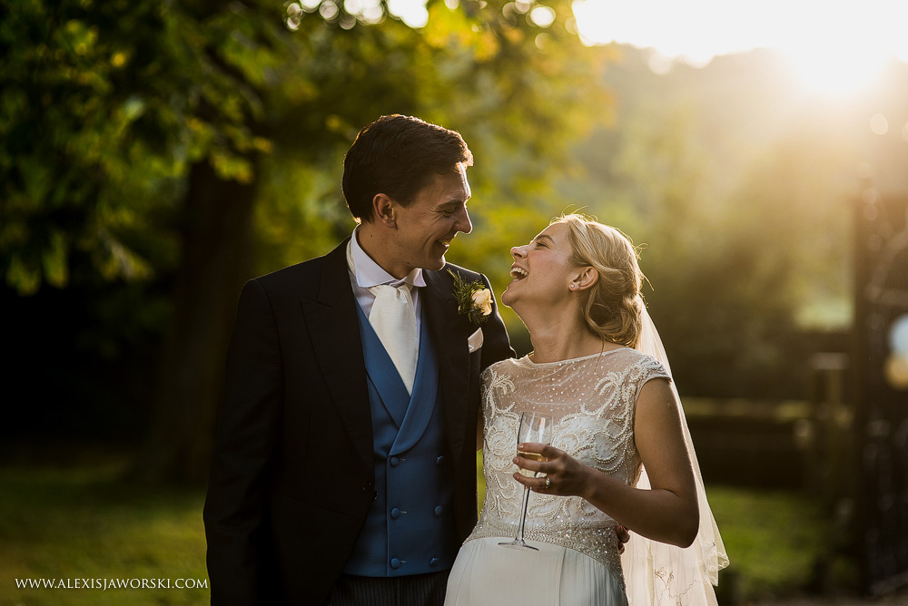 Evening Portraits of bride and groom