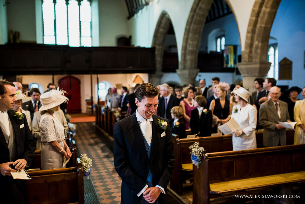 Groom waiting at St.Peters Church in Bishops Waltham