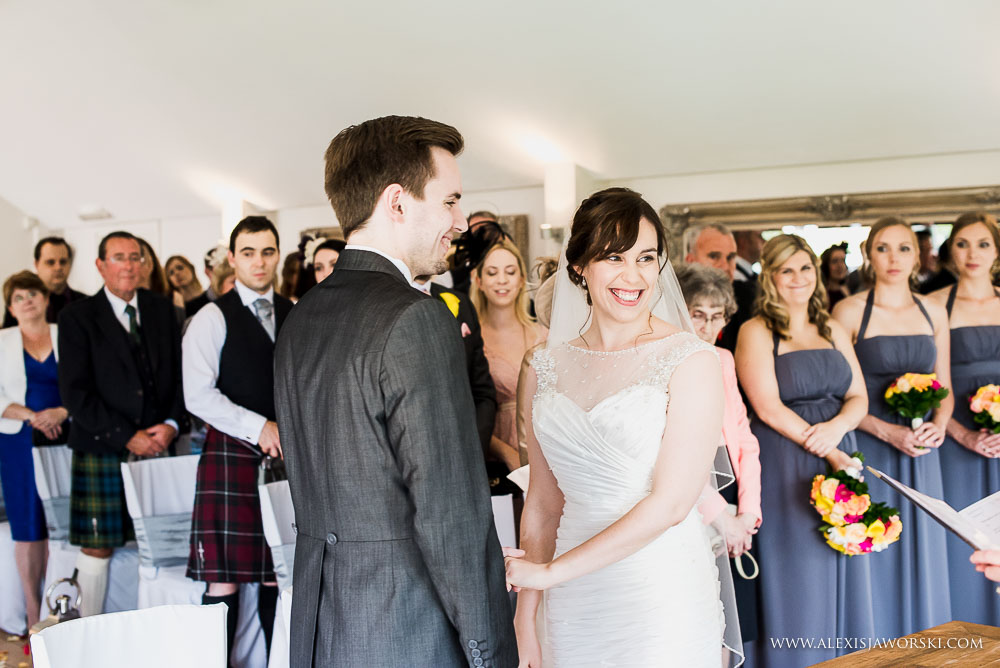 Wedding ceremony in the garden room at Wasing Park