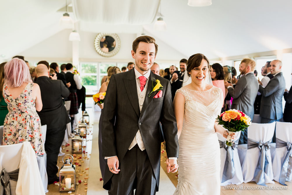 Bride and groom in the garden room