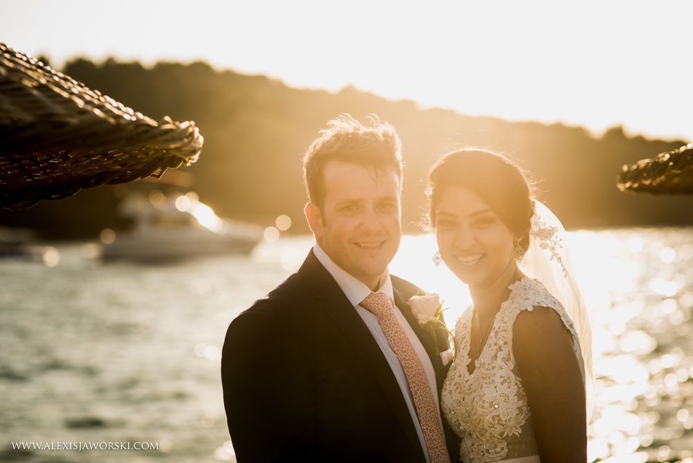 Bride and groom close-up portrait