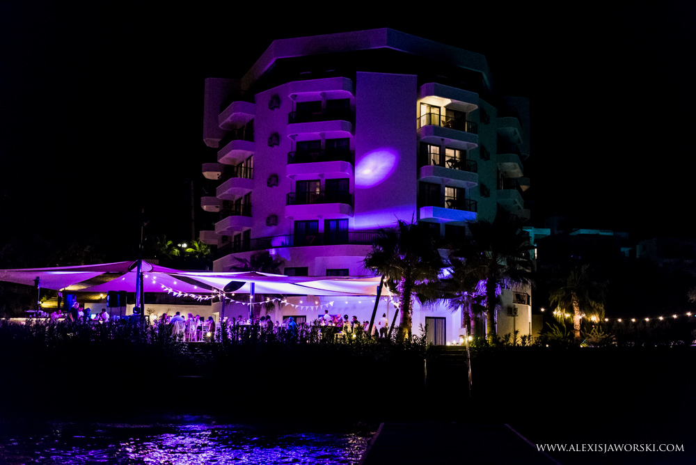In view of the hotel at night with purple light