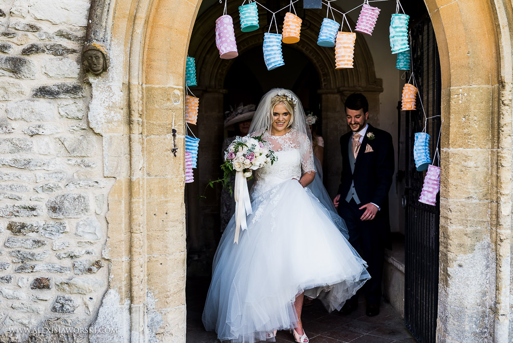Walking down the aisle at Ardington House