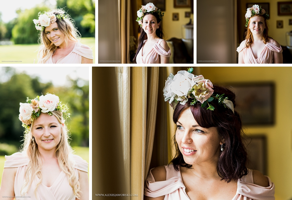 Bridesmaids floral pieces at Ardington House