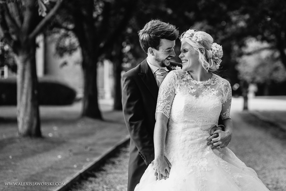 Natural and relaxed portrait of bride and groom