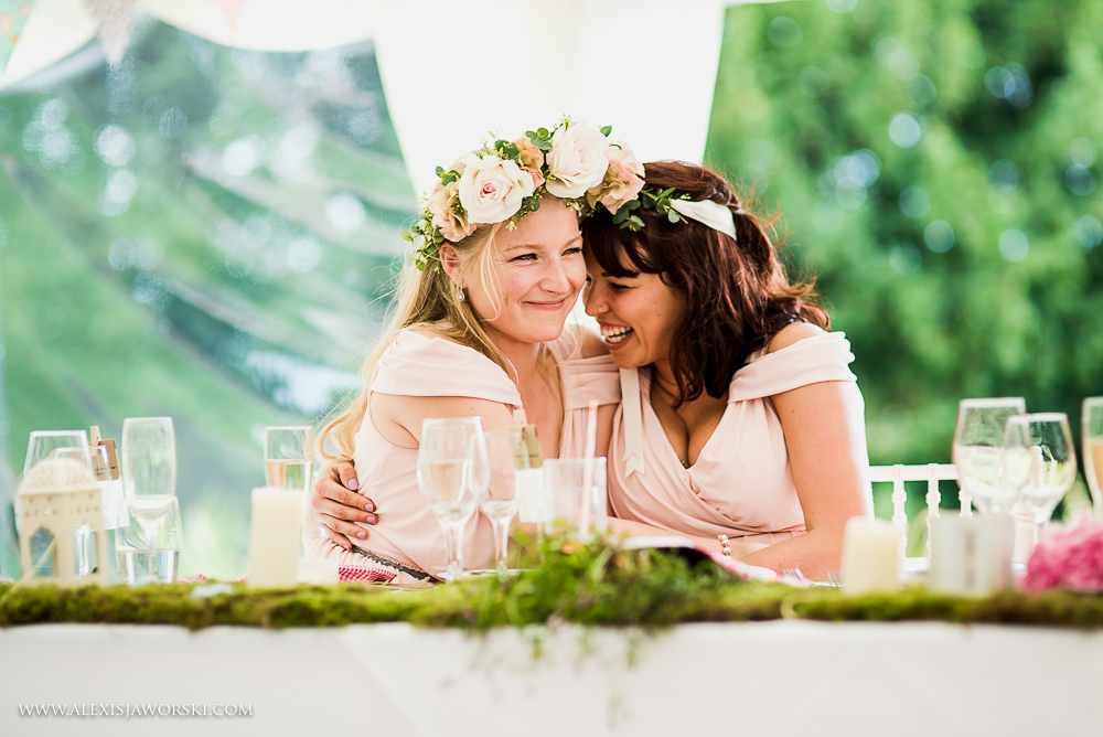 bridesmaids hug during speeches at Ardington House