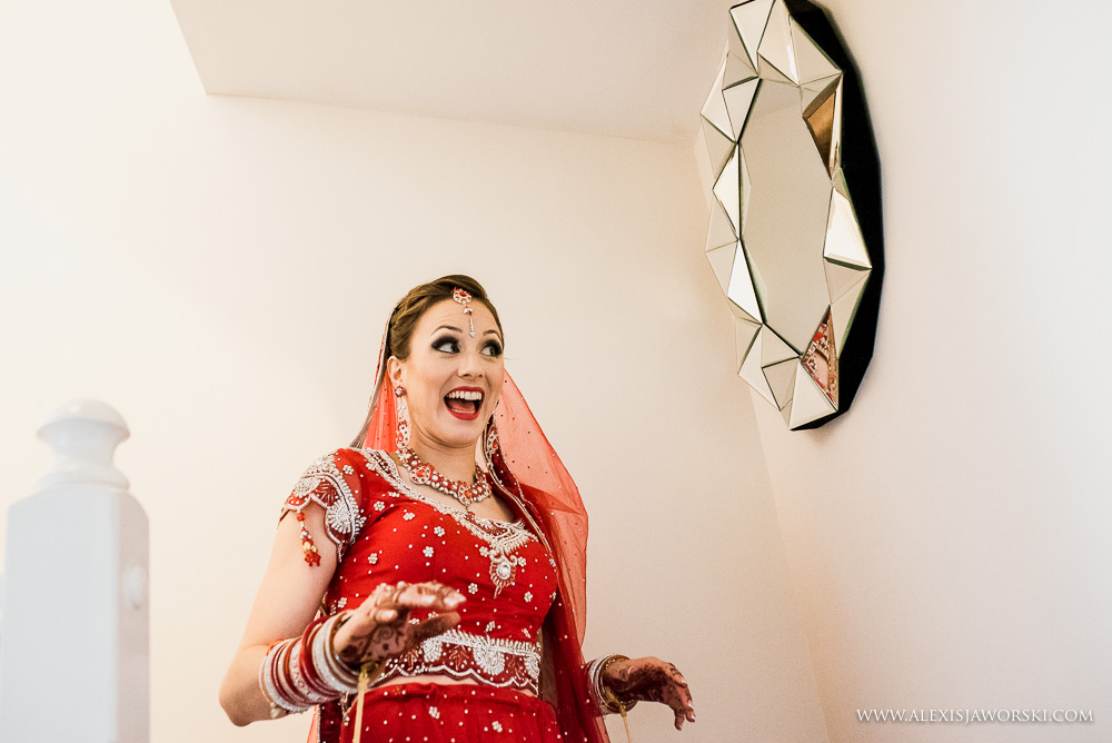 bride surprised look in mirror