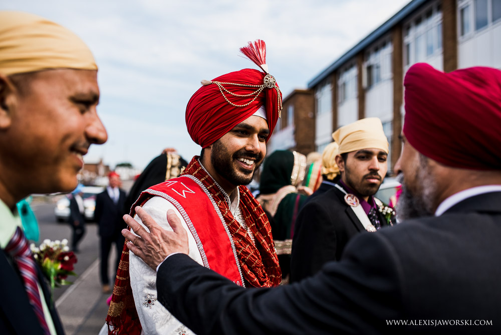 Groom arrives at Leicester Gurdwara