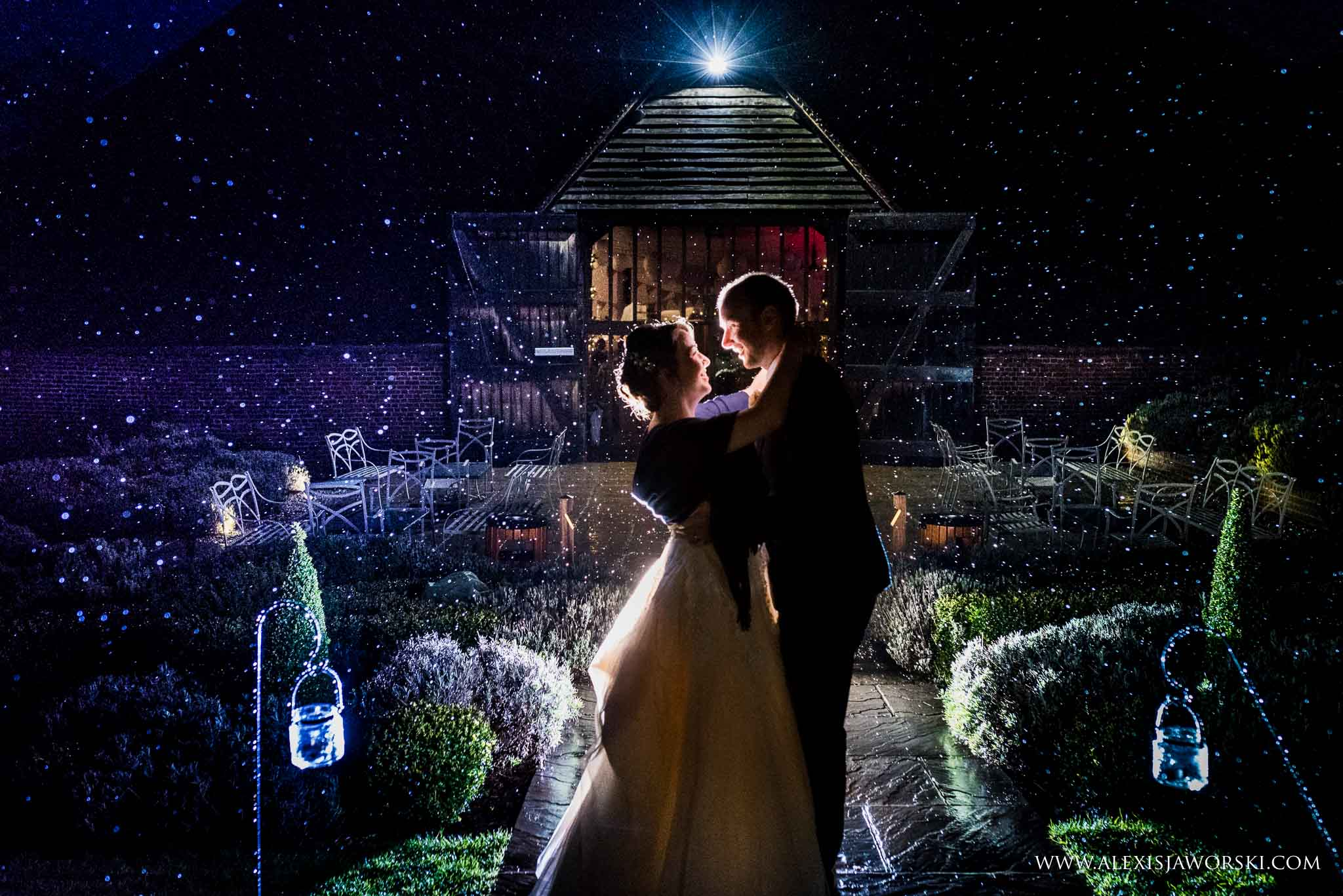 Wedding portrait in the rain at ufton court