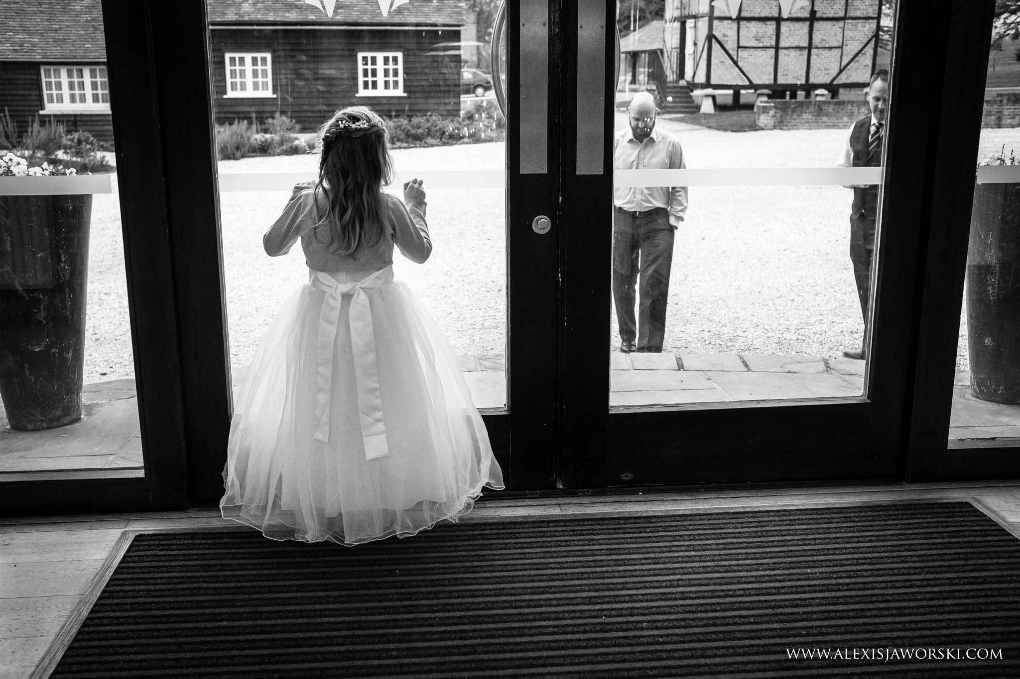 flower girl looking out