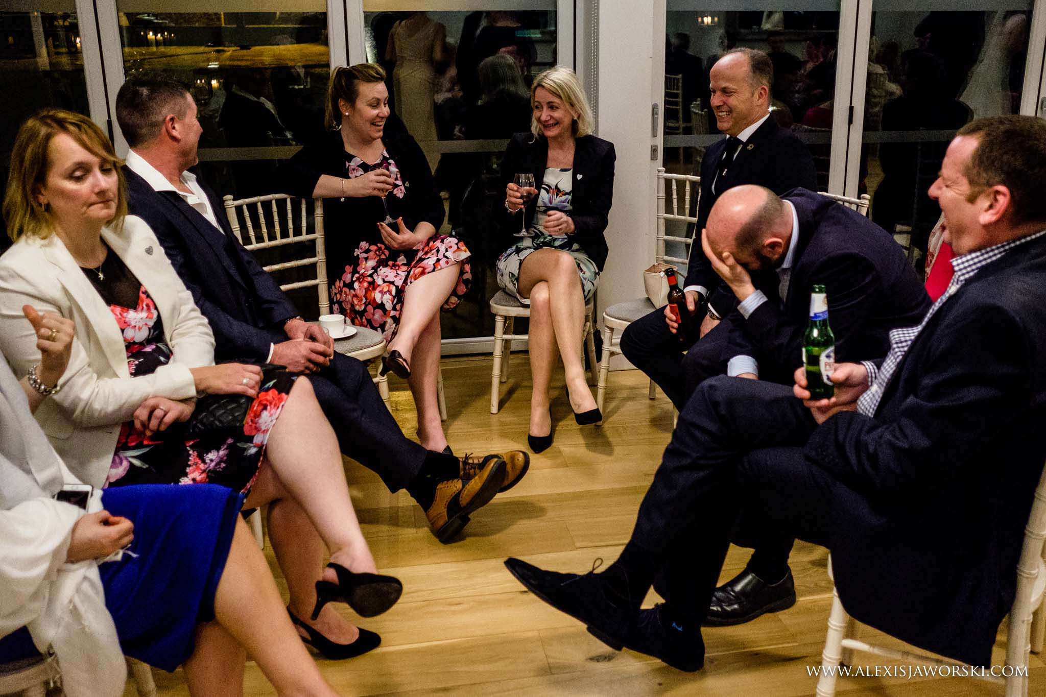 guests chatting and luaghing