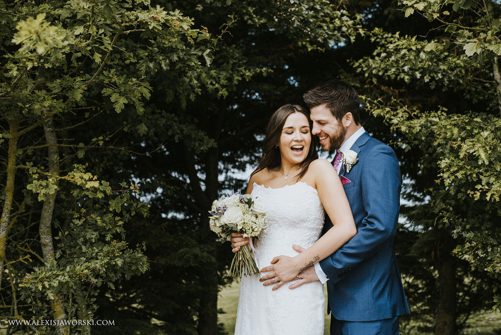bride and groom posed portrait at Southend Barns