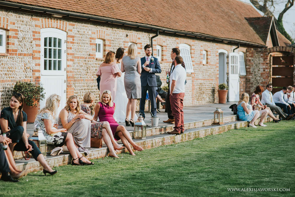 guests relaxing in the garden at Southend Barns