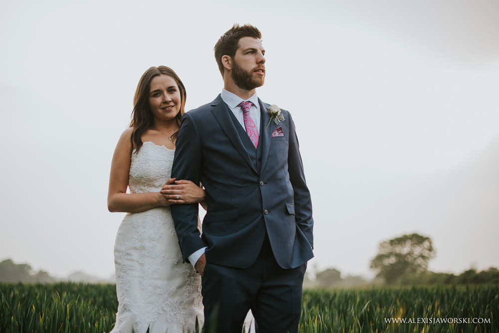 Bride and groom portrait at dusk