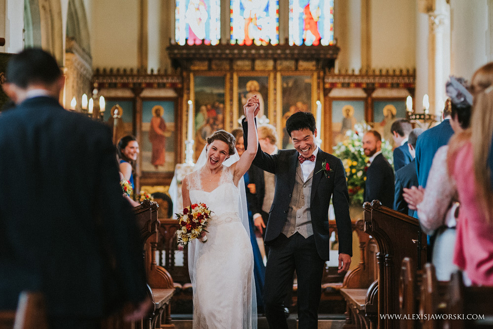euphoric moment as they walk up the aisle