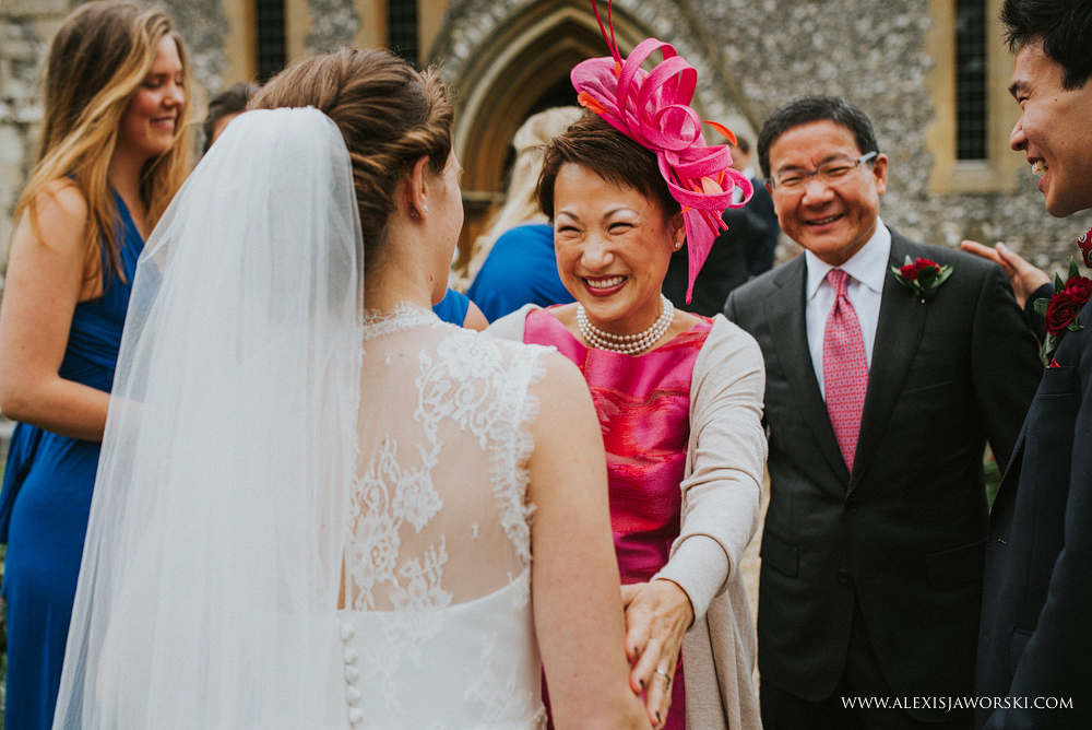 mother of the groom congratulating bride