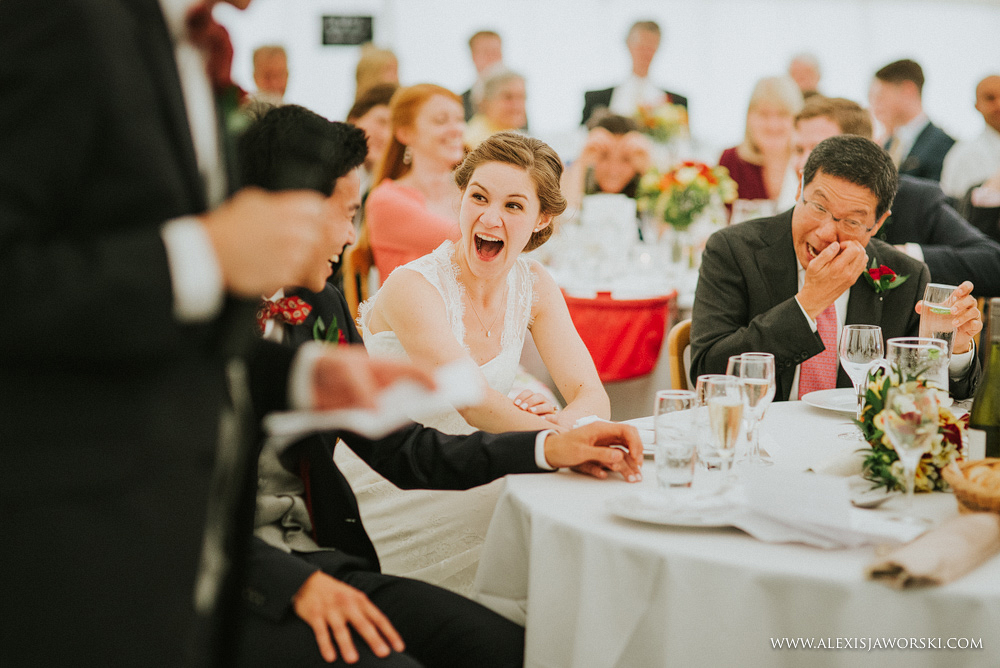 bride and groom shocked by the content of the speech