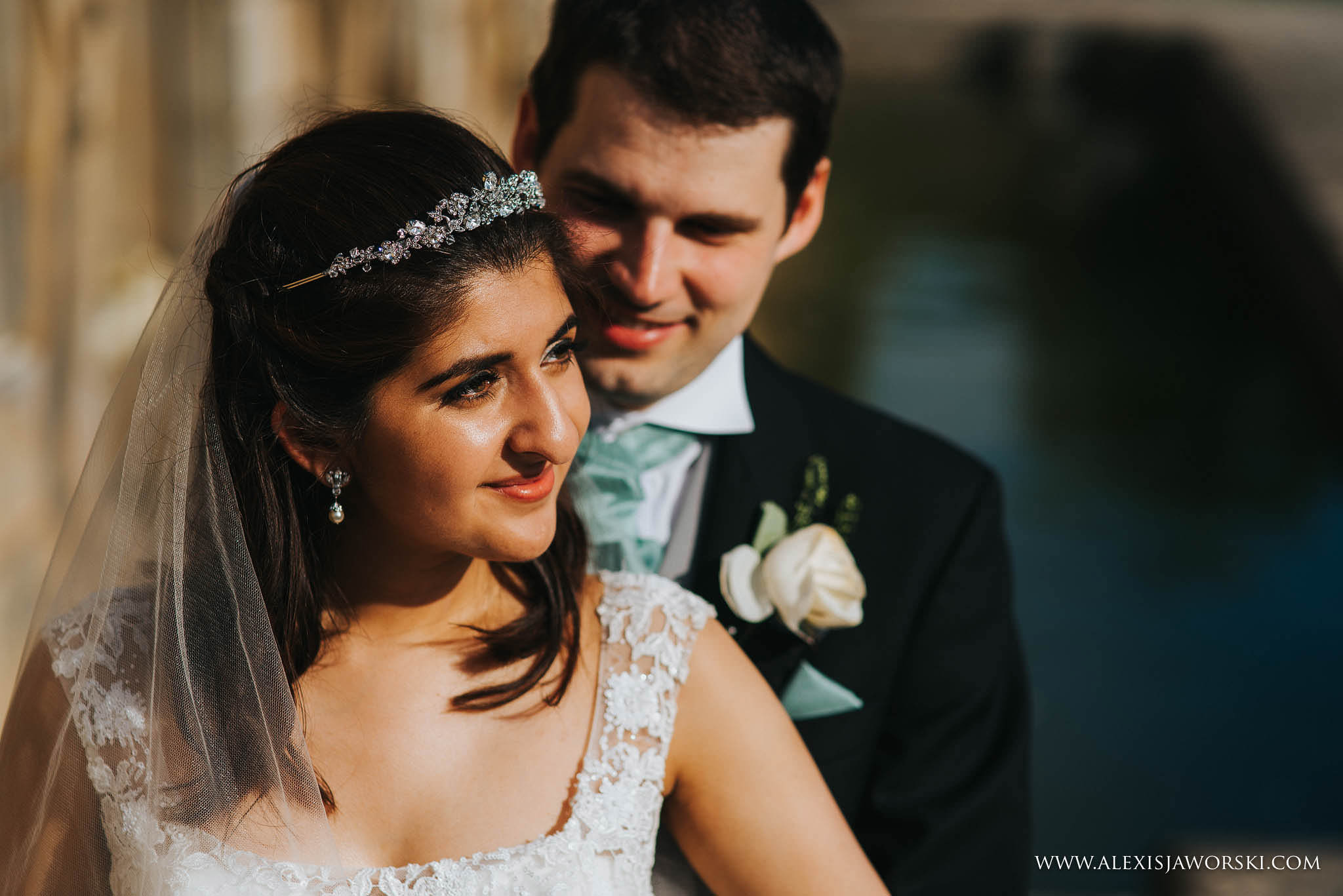 close up portrait of the bride and groom