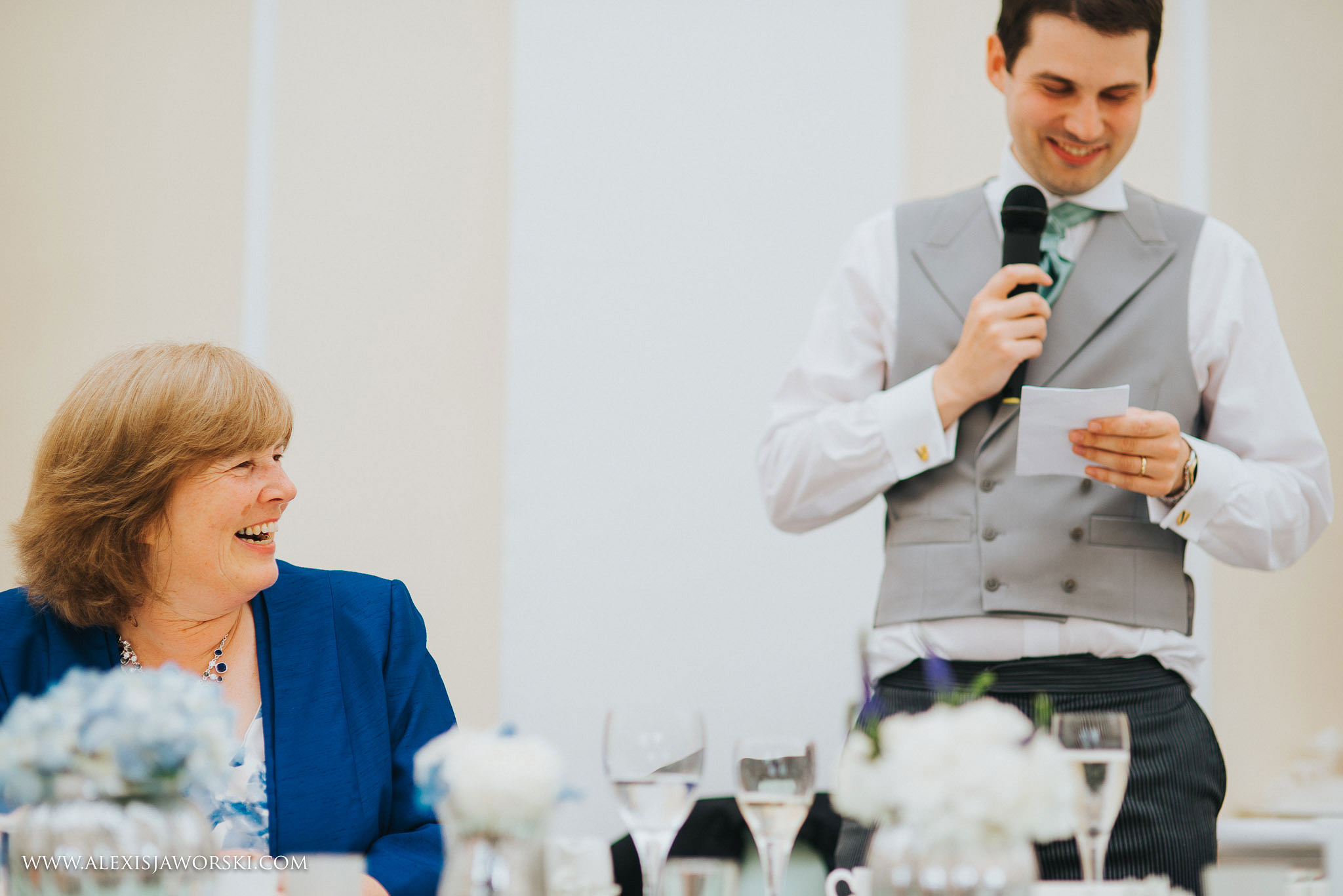 mum and son during speeches