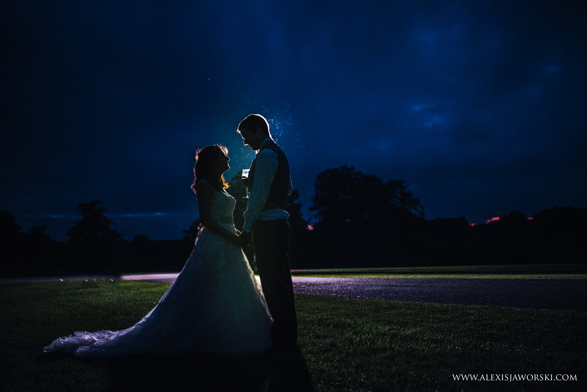 night portrait of the bride and broom