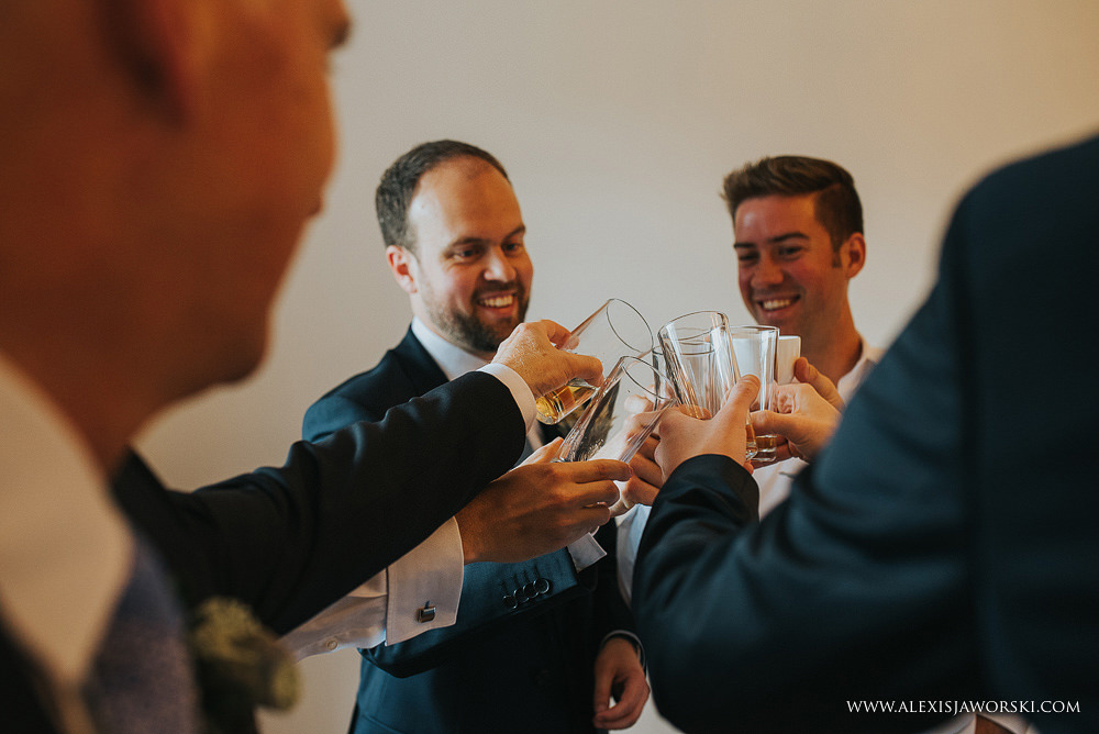 Groom and the boys having a drink