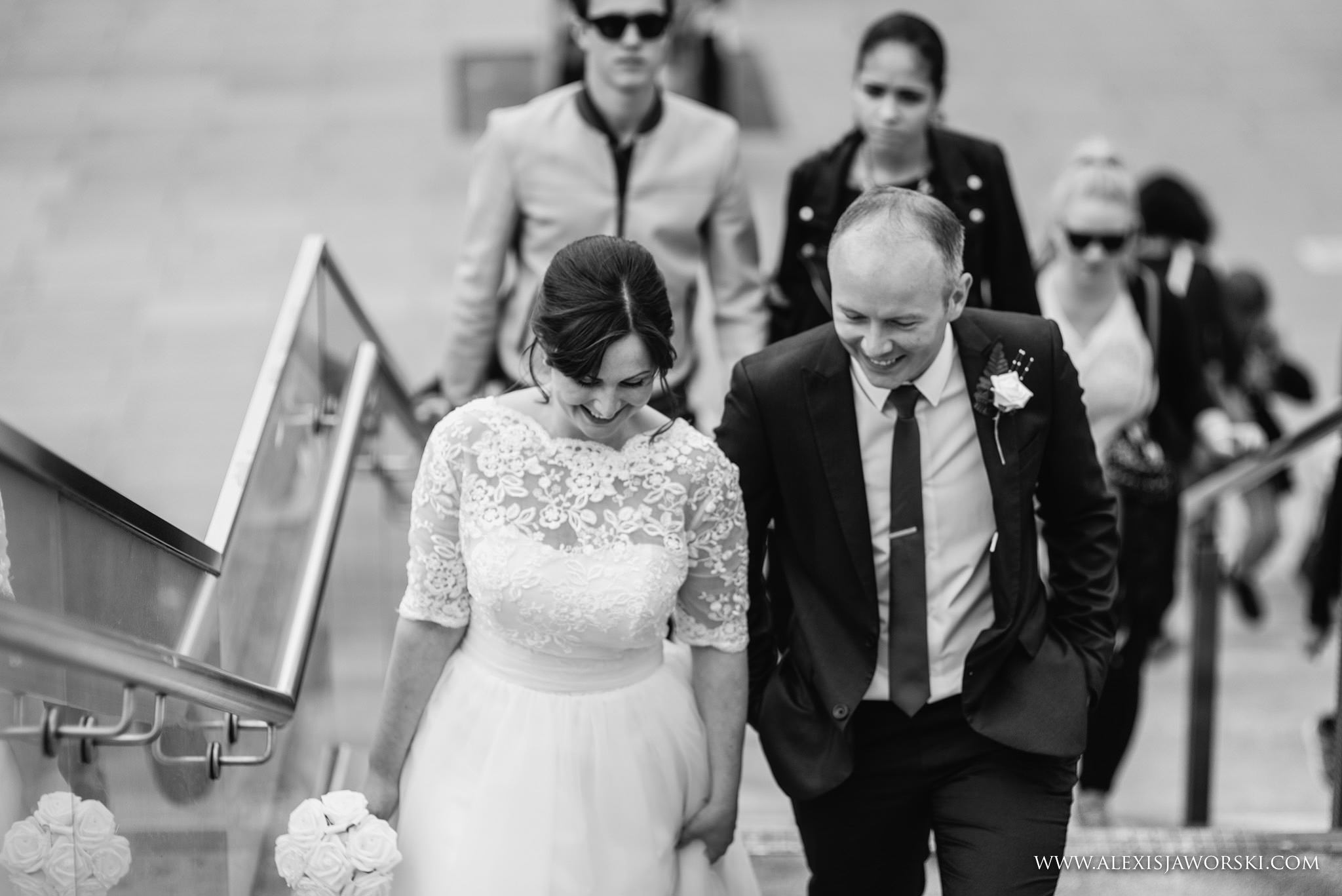 Bride and groom walking in London