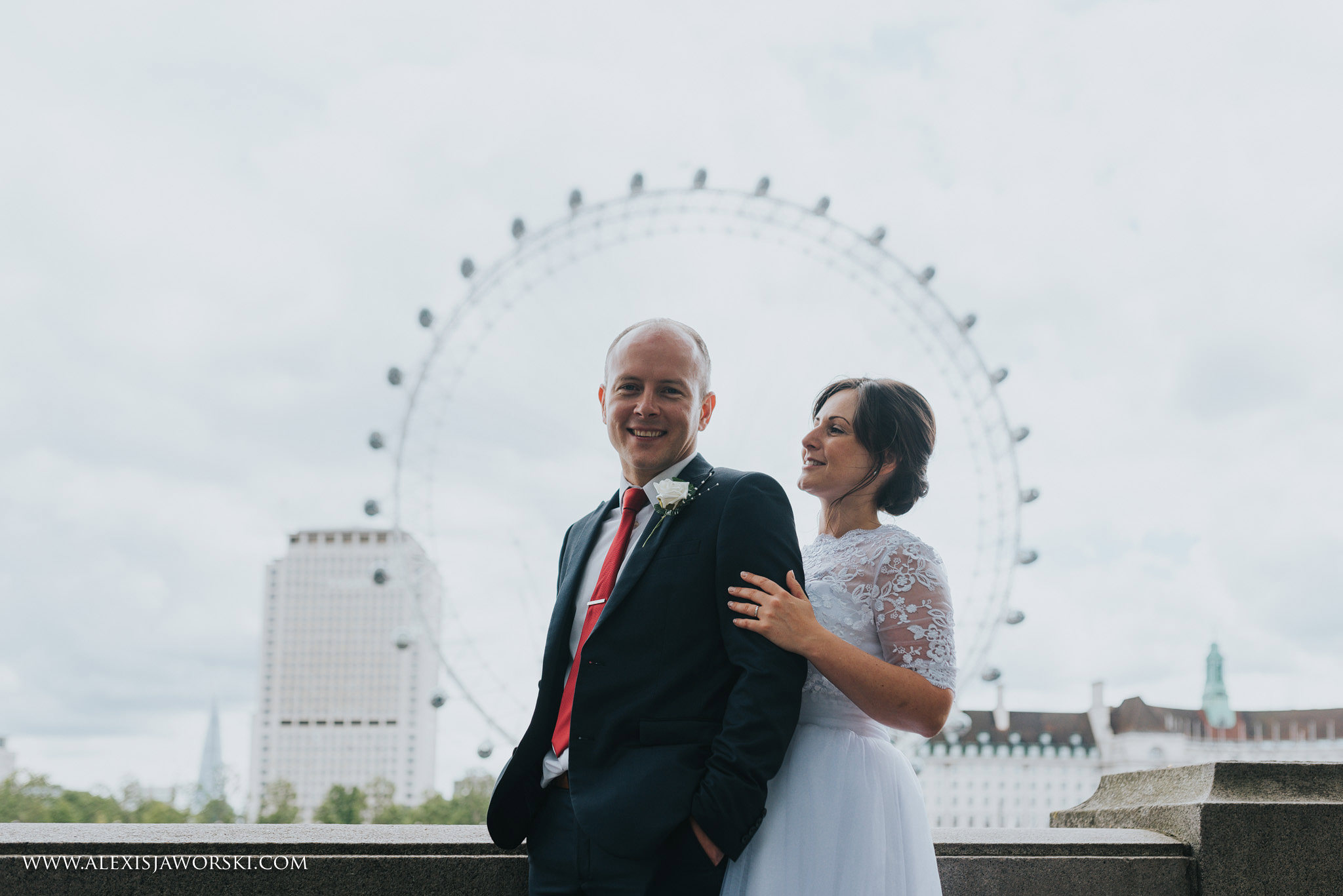 Creative portrait with the London Eye in the background
