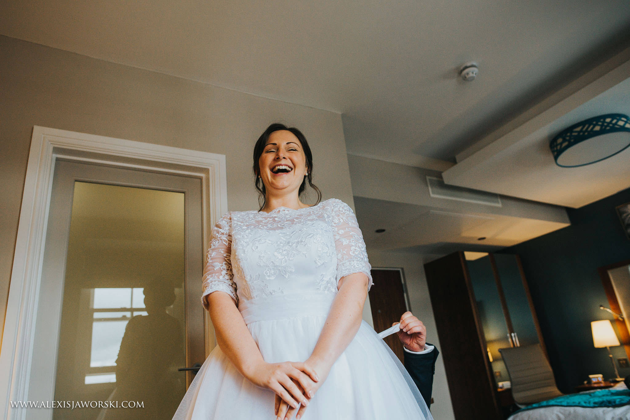 bride having a good laugh!