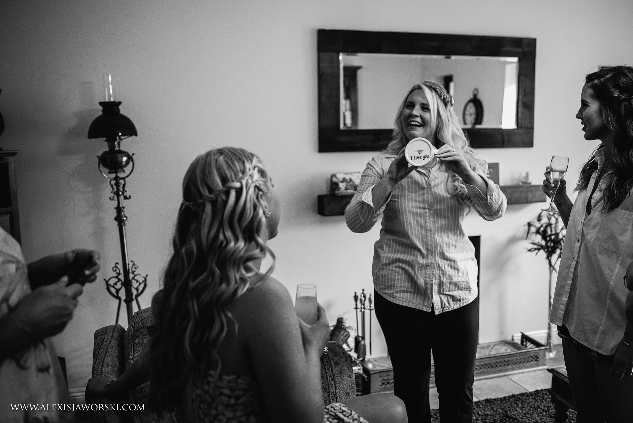 bride showing a mug received