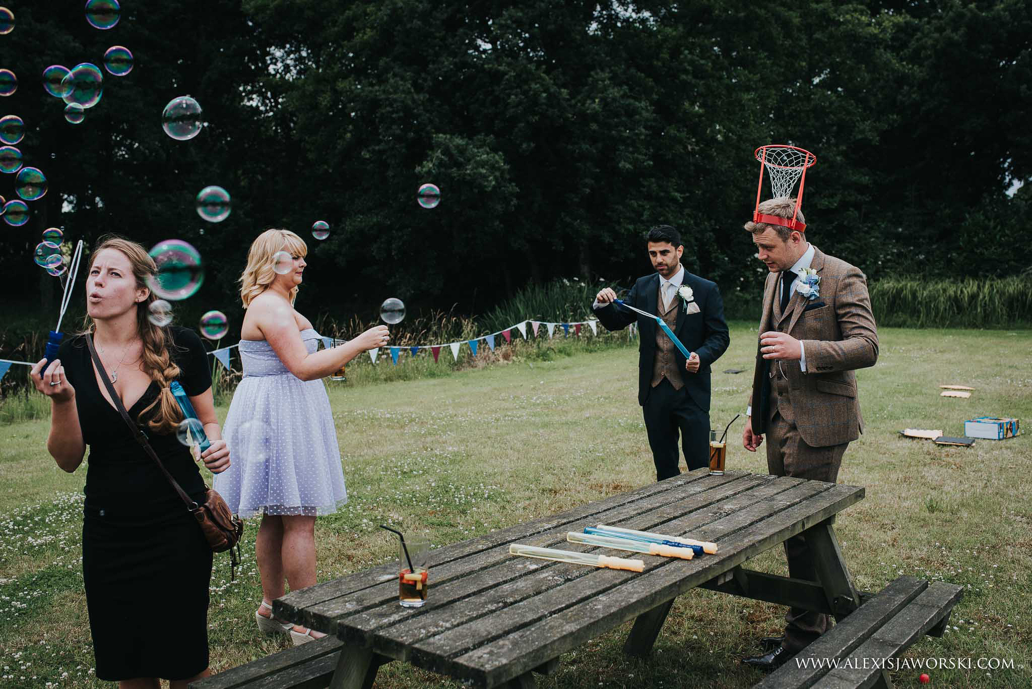 adults playing with bubbles
