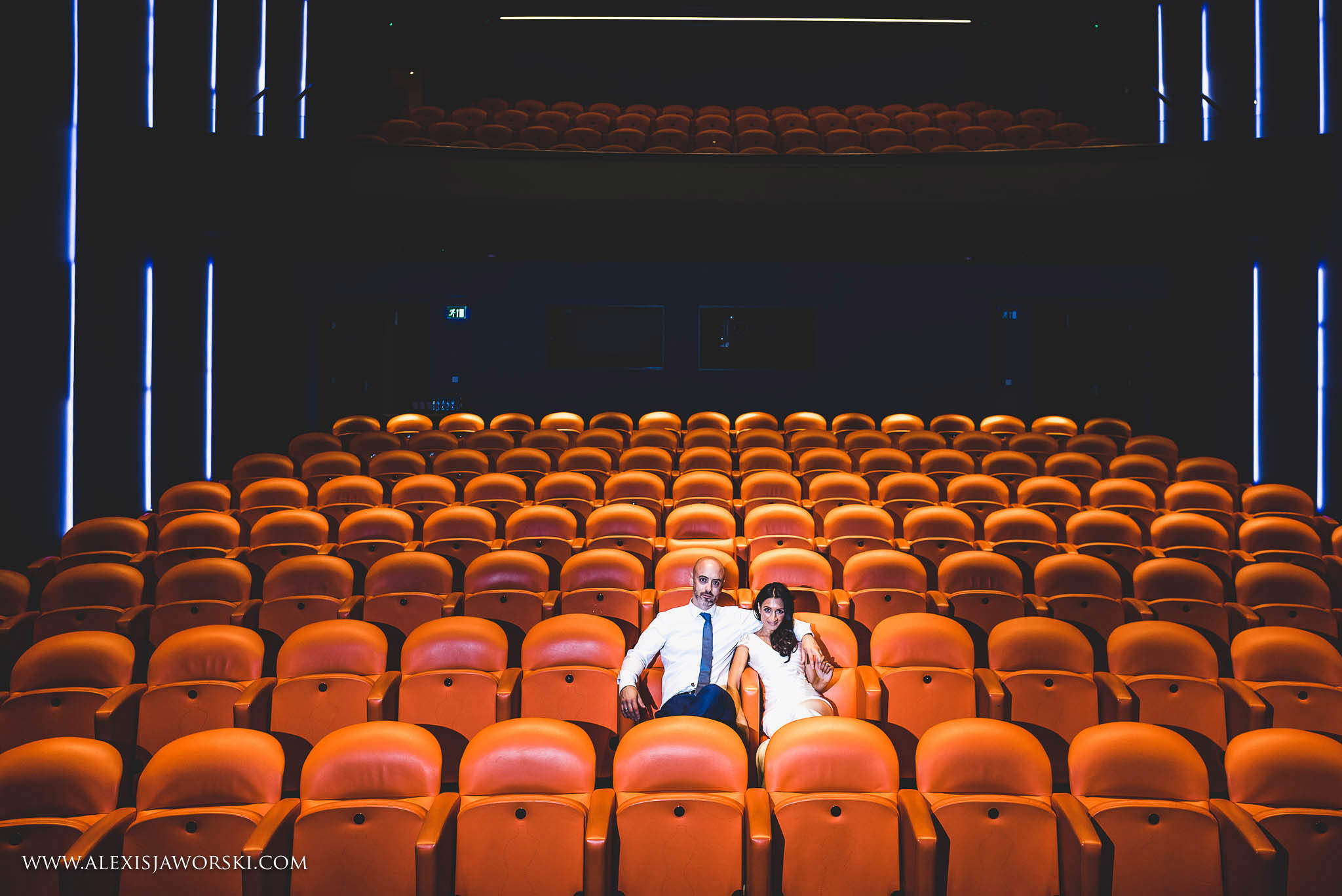 Portrait of the bride and groom at the cinema