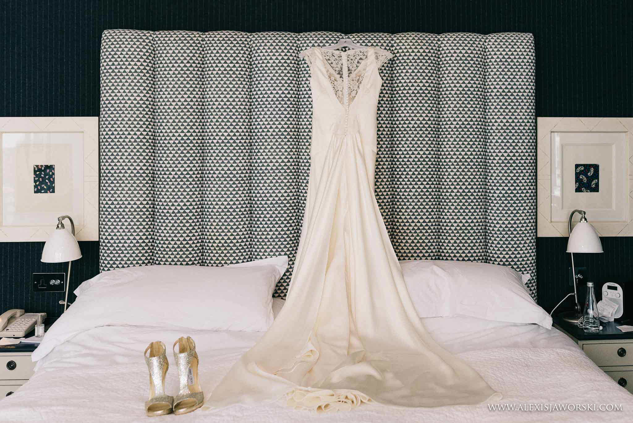 the dress and wedding shoes