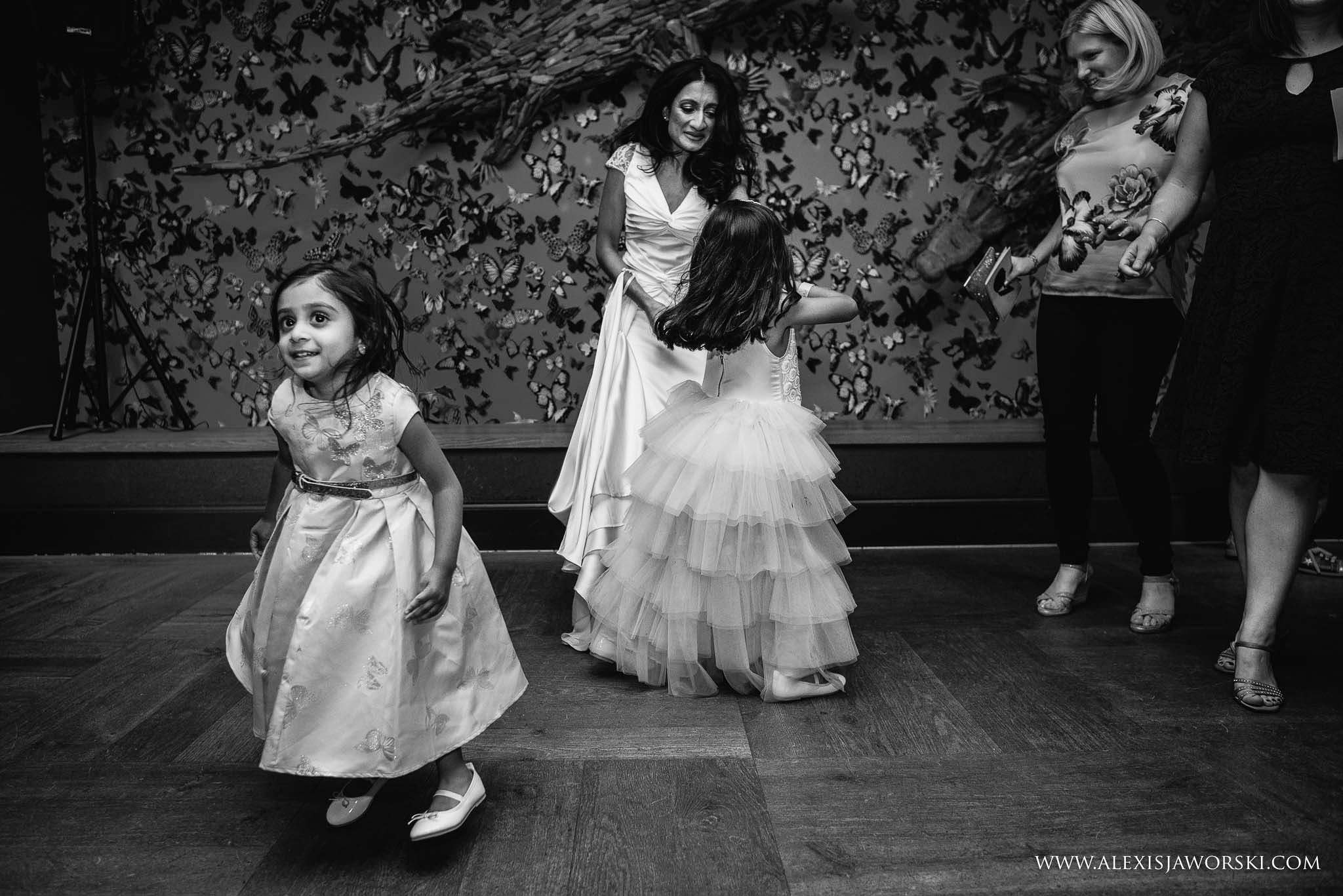 bride dancing with niece