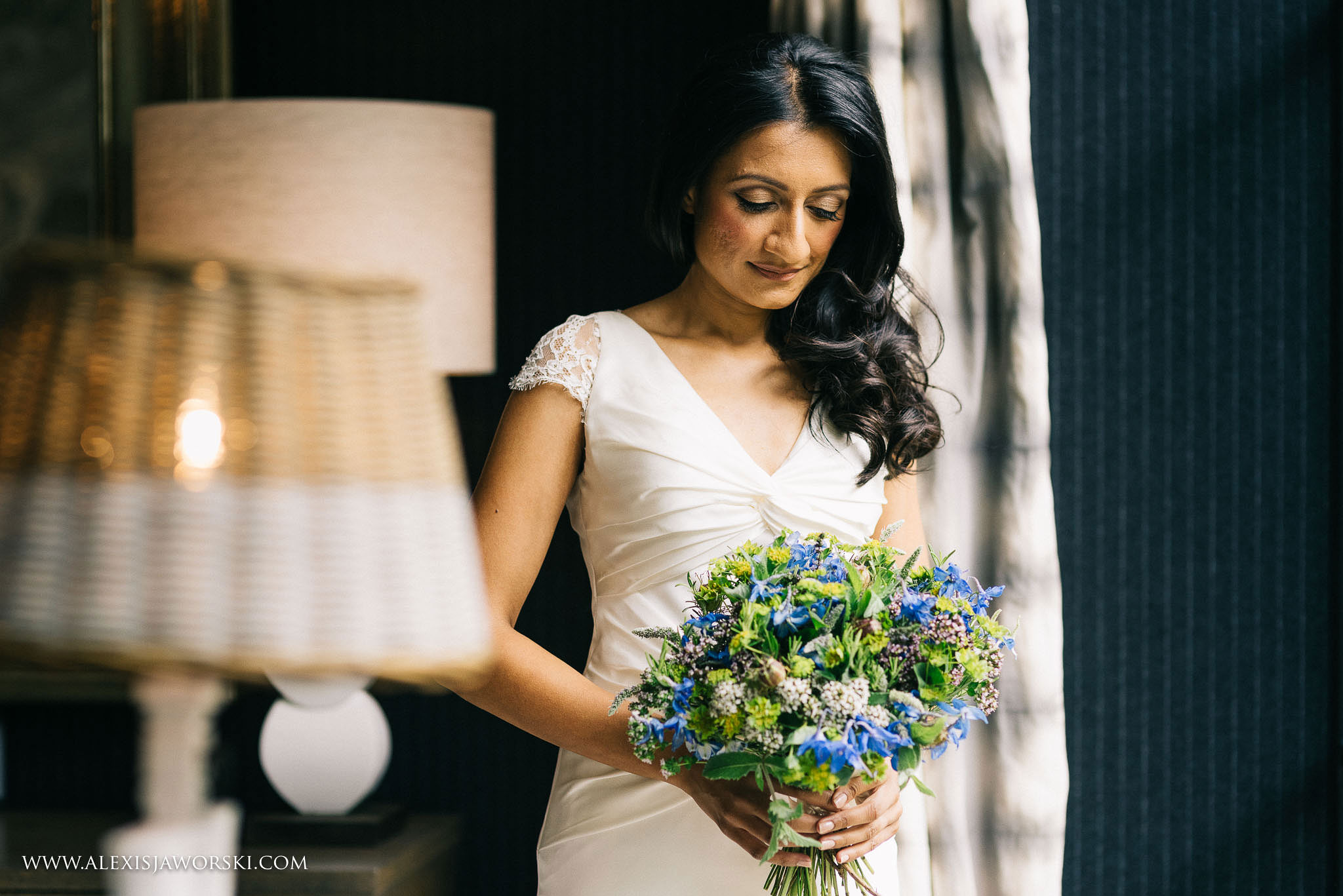 portrait of bride holding the bouquet