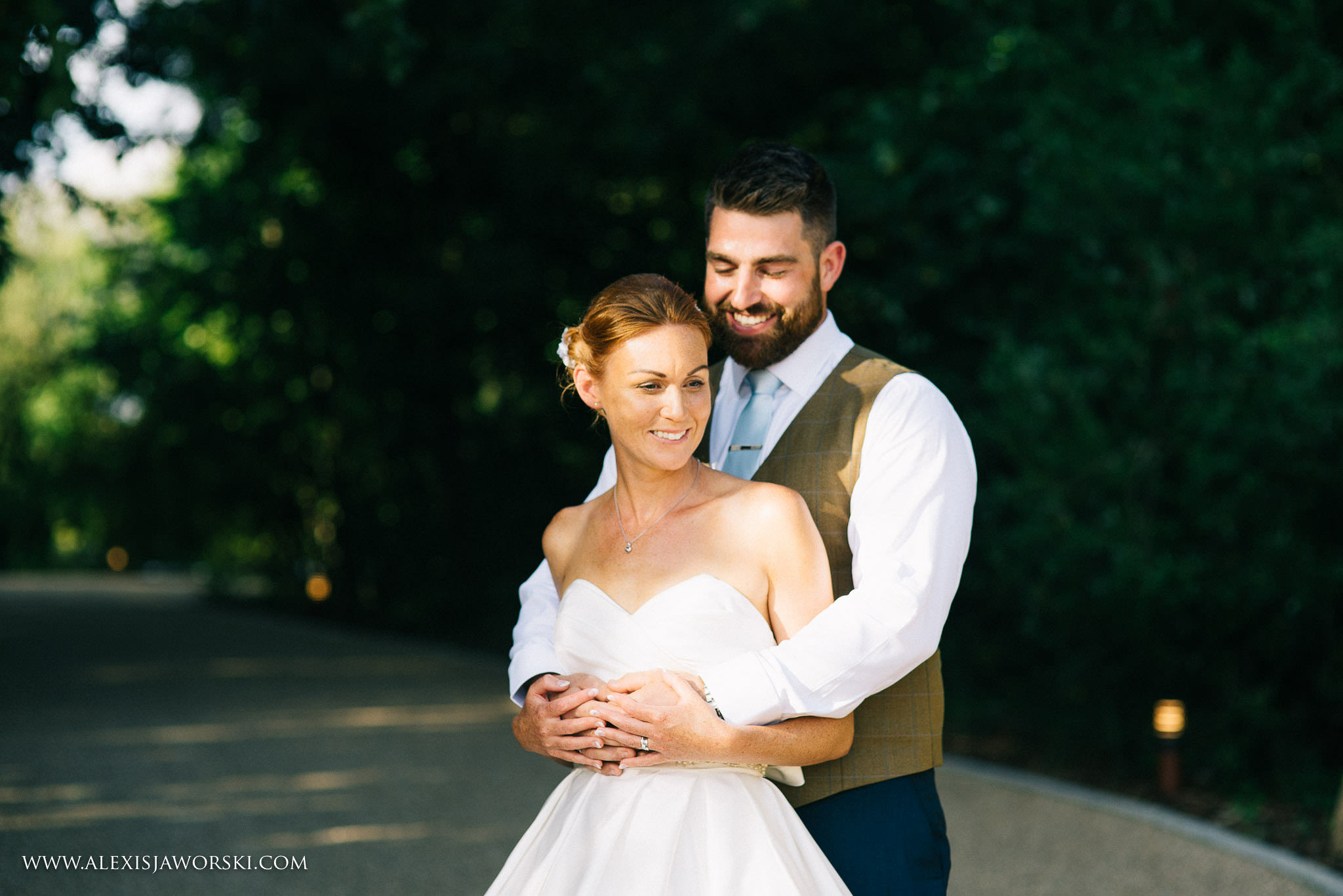 a relaxed portrait of bride and groom