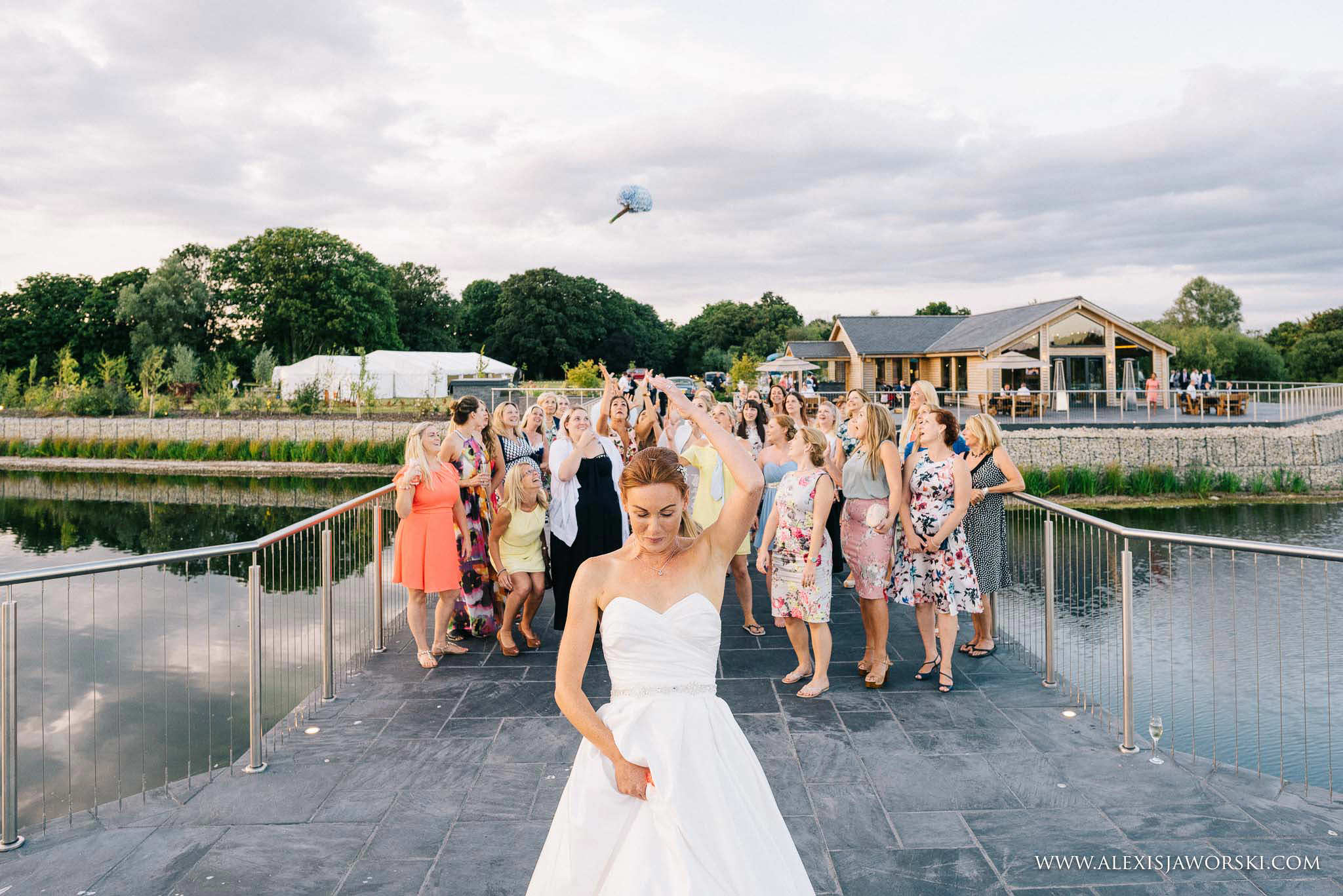 bouquet throw by bride