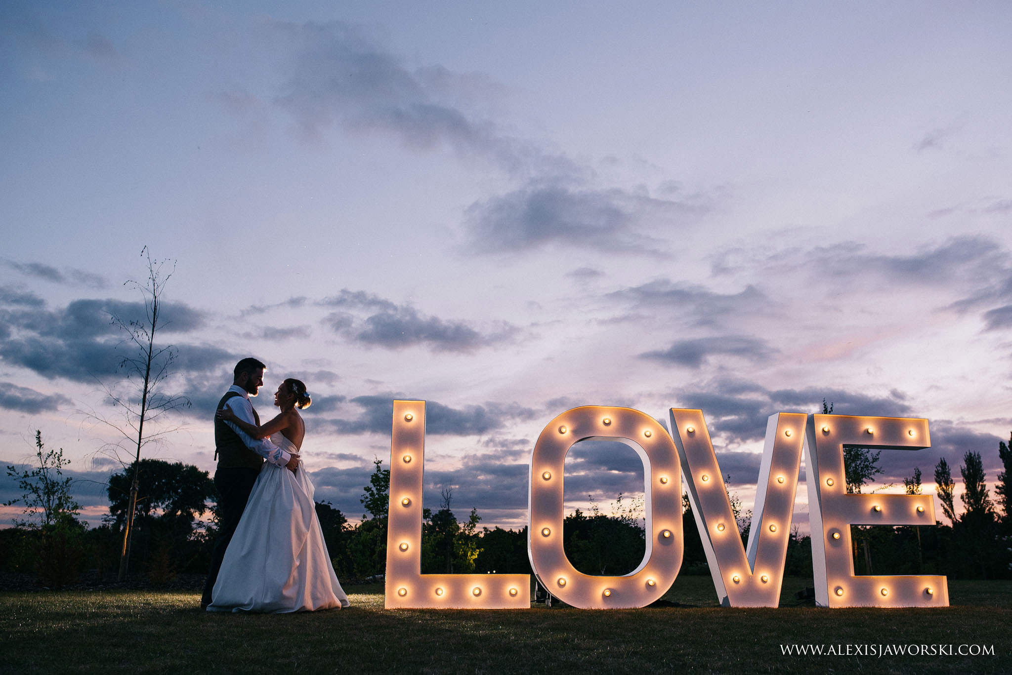 night portrait with Love sign