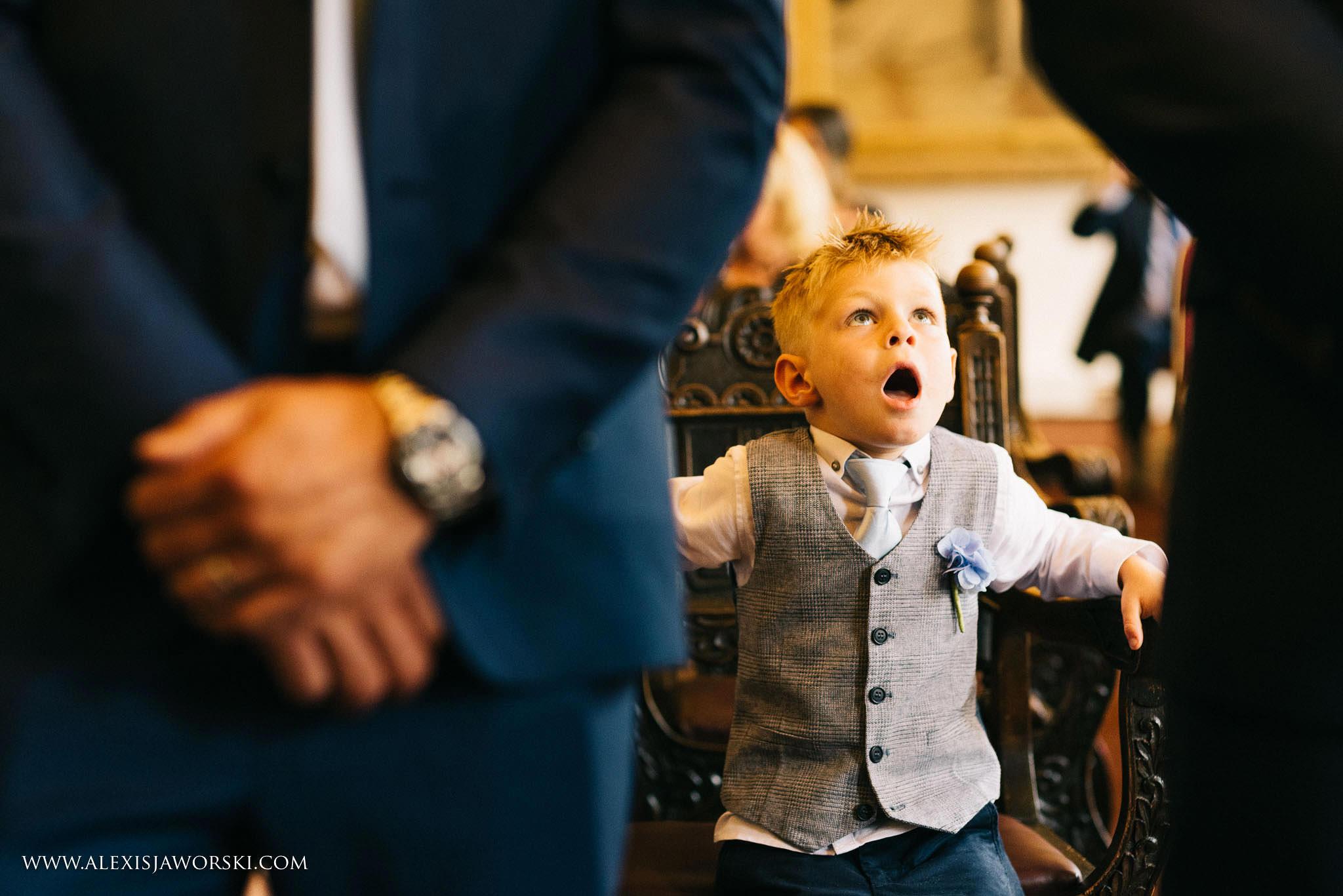 page boy yawning