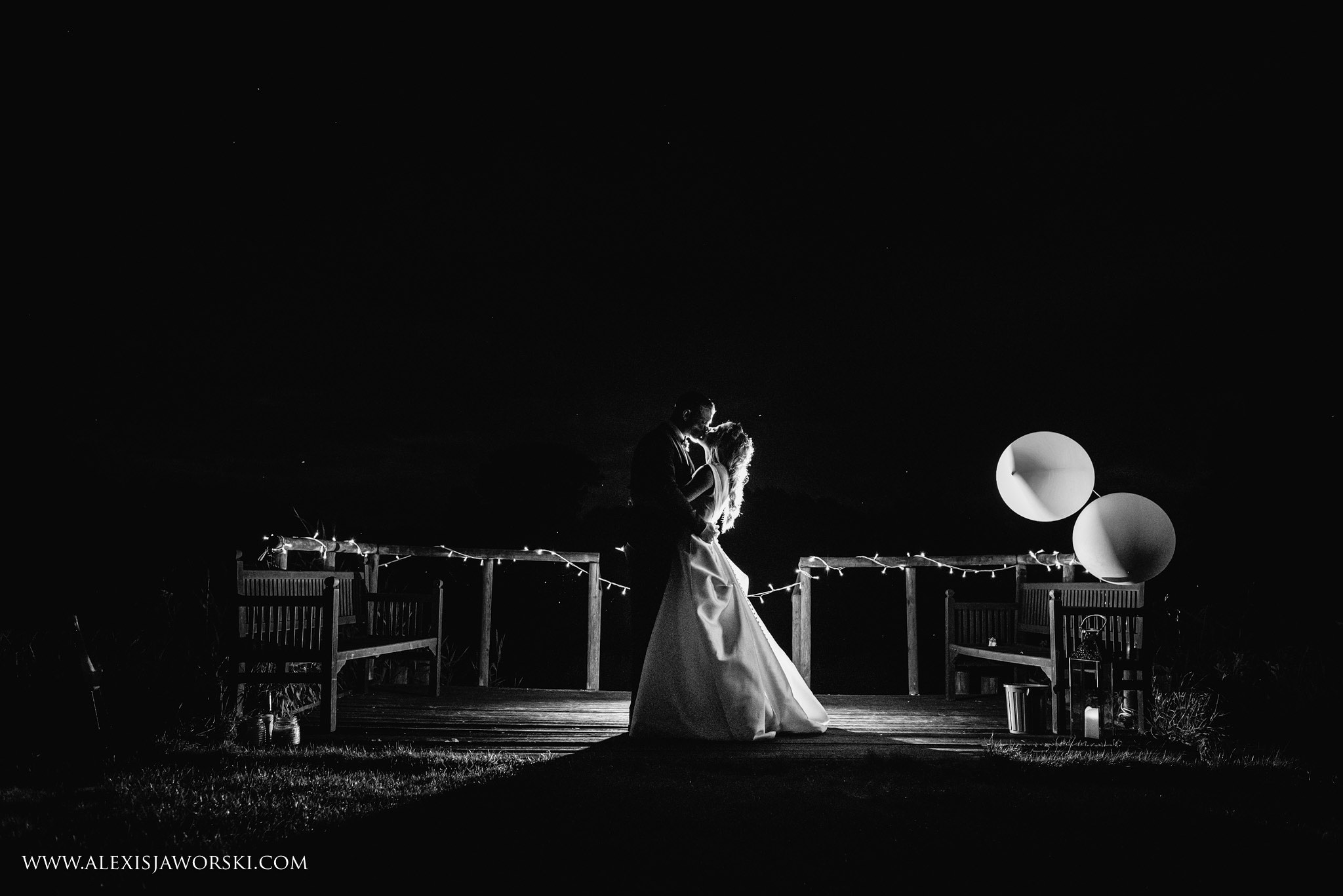 night portrait of the bride and groom