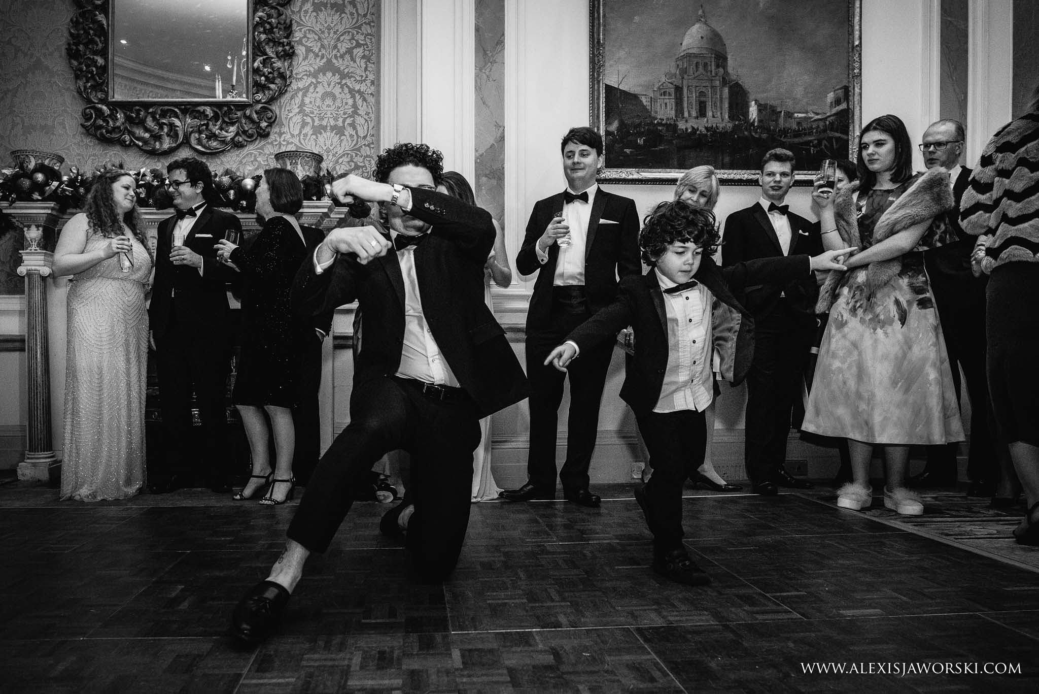 guests and boy dancing