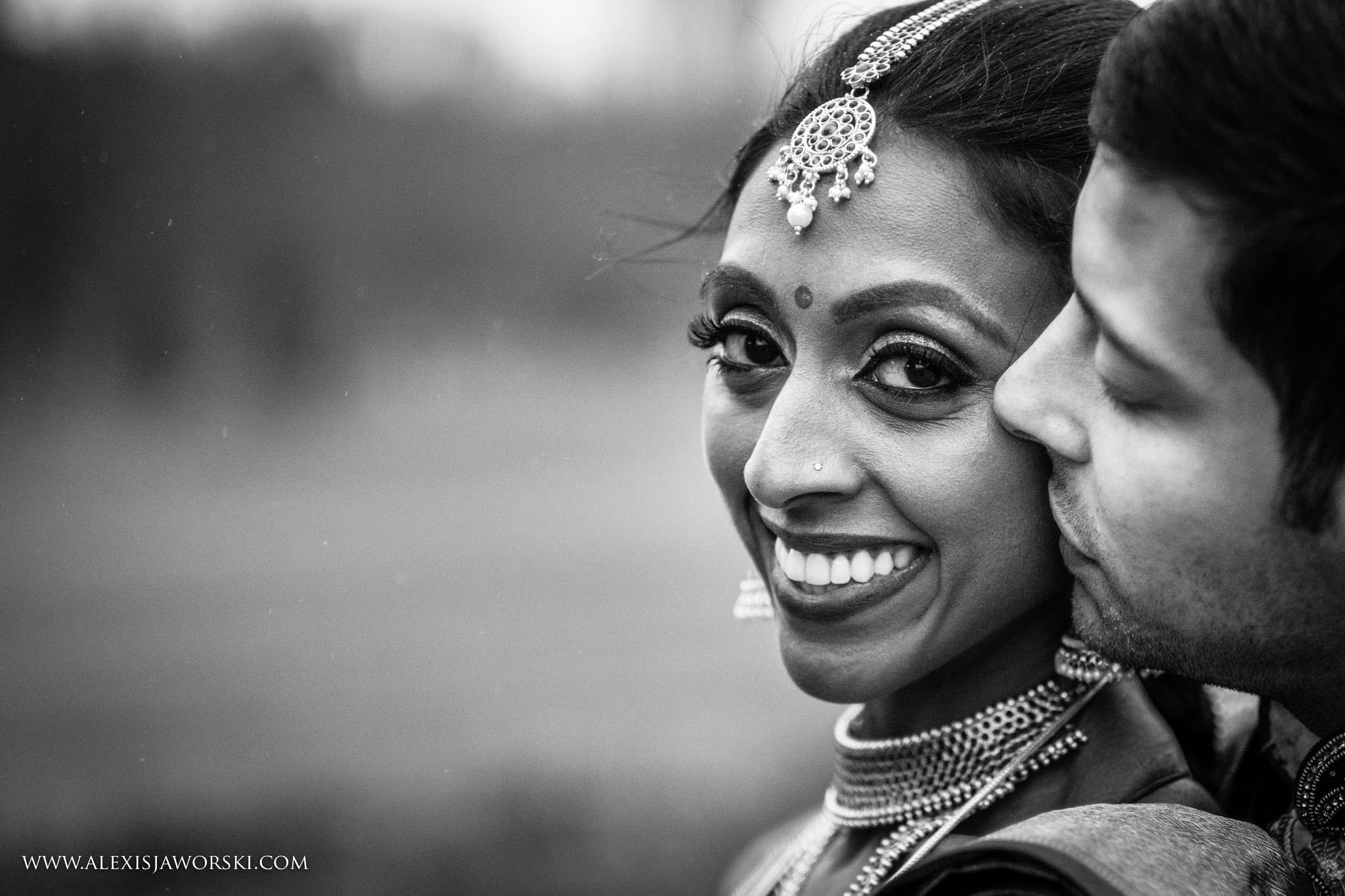 close up portrait of bride and groom